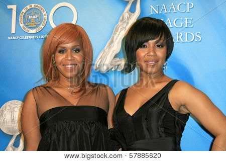 Tina Evette Atkins and Erica Monique Atkins  in the press room at the 40th NAACP Image Awards. Shrine Auditorium, Los Angeles, CA. 02-12-09