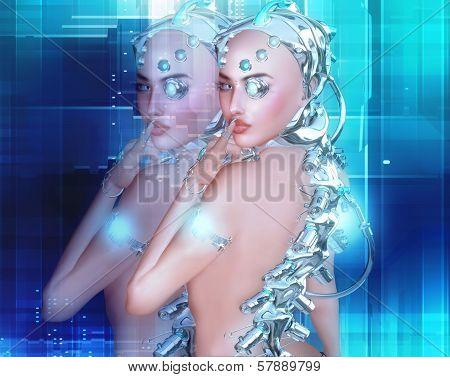 Android girl, part robot part human.