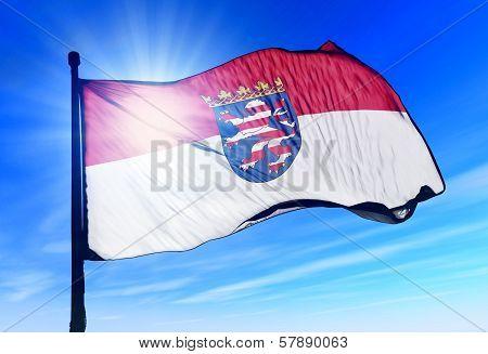 Hesse (GER) flag waving on the wind