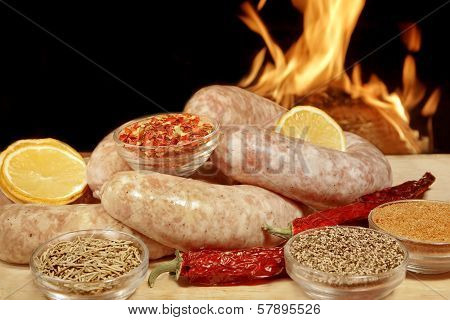 Homemade Bratwurst Sausage In Fire Background Xxxl