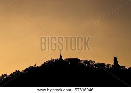 Silhouette Of Pagoda On The Top Of Mountain,phra Nakhon Khiri