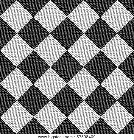 Design Seamless Uncolored Geometric Pattern. Abstract Rhombus Doodle Textured Background