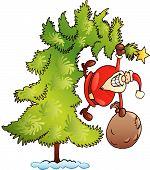 stock photo of santa-claus  - cartoon vector illustration of santa claus with sack on christmas tree - JPG