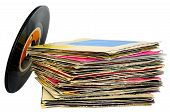 picture of lp  - 45 rpm vinyl discs stack on white background - JPG