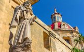 stock photo of gozo  - Saint statue in the parish dedicated to St Margaret of Antioch - JPG