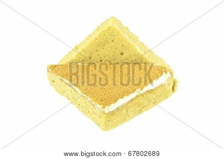 Yellow Coffee Chiffon Cake Place As Triangle Isolated