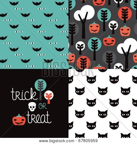 Seamless kids halloween illustration pumpkin cat background pattern and trick or treat cover design in vector