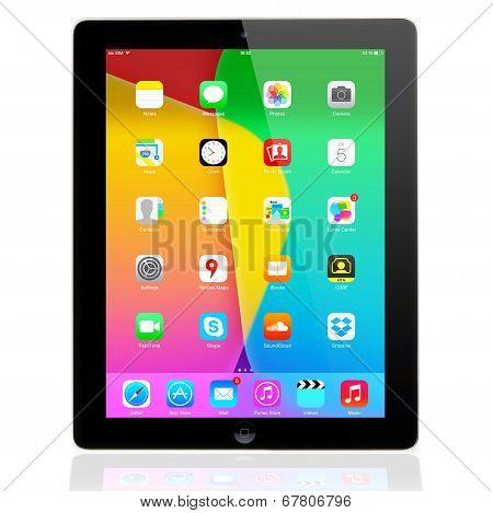 iOS 7.1.2 homescreen on a iPad display