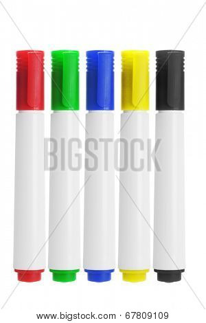 Row Of Marker Pens On White Background