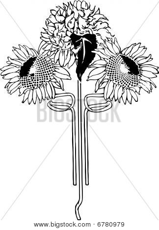 Flower Art Deco Illustration Vector. Sunflower.