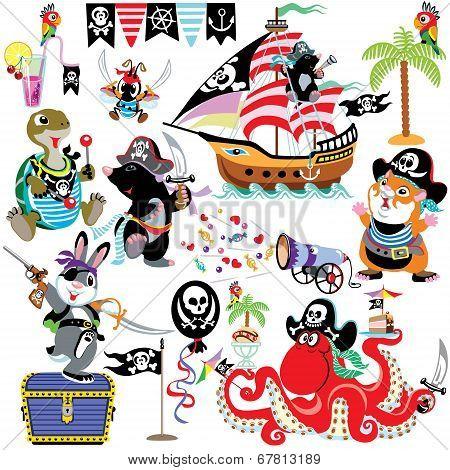cartoon set with pirates