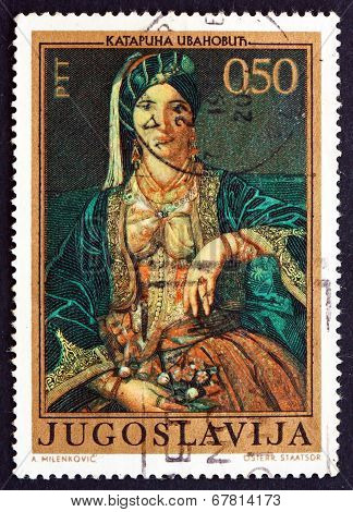 Postage Stamp Yugoslavia 1971 Woman In Serbian Costume, By Katar
