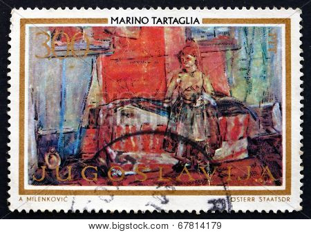 Postage Stamp Yugoslavia 1973 Room With Slovak Woman, By Tartagl