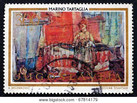 Postage Stamp Yugoslavia 1973 Room With Slovak Woman, By Tartagl