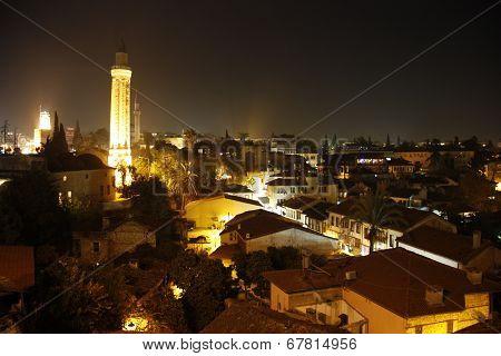 Night view of Antalya Old Town Kaleici, Turkey
