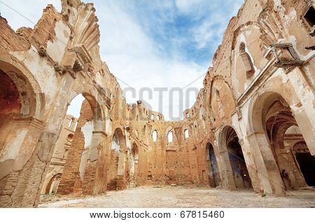 Ruins of an old church destroyed during the spanish civil war in Belchite Saragossa Spain.