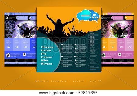 Website design template, music event vector.