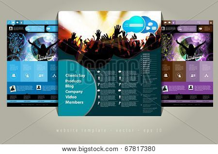Website layout with music event subject, vector