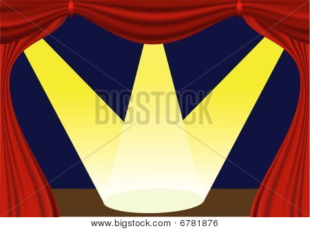 oen curtain and lights - vector