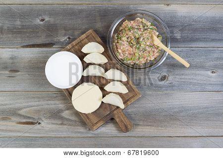 Raw Ingredients For Making Chinese Dumplings
