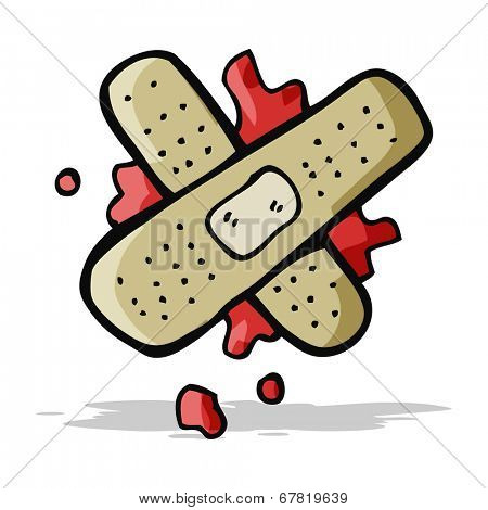 cartoon bloody medical plaster