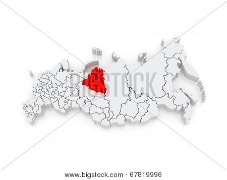 Map of the Russian Federation. Yamal-Nenets Autonomous Okrug. 3d