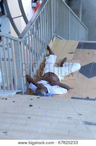 Homeless man in Kuala Lumpur Malaysia