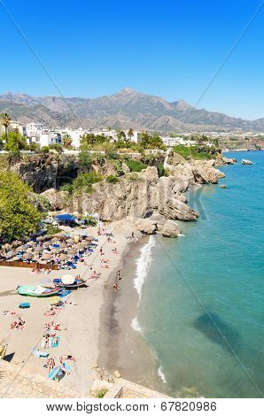 Nerja beach famous touristic town in costa del sol Málaga Andalusia Spain.