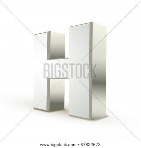 3D Alphabet Silver H