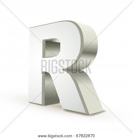 3D Alphabet Silver R