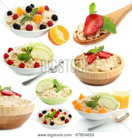 Collage of tasty oatmeal with fruits and berries, isolated on white