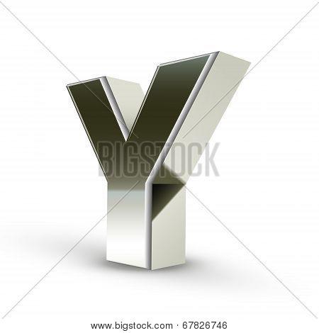 3D Silver Steel Letter Y