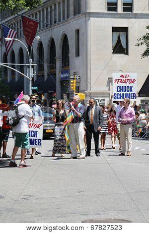 US Senator Chuck Shumer participates at LGBT Pride Parade in New York