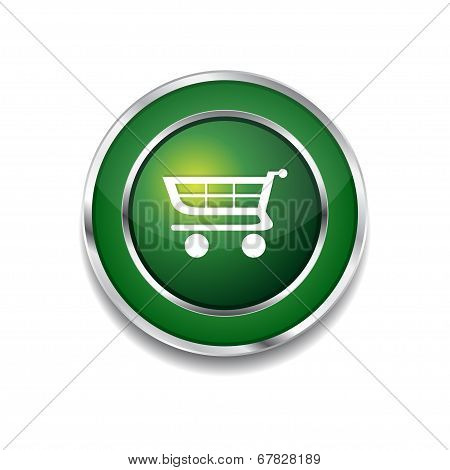 Shopping Circular Vector Green Web Icon Button