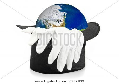 Black Magic Hat And Gloves With Earth