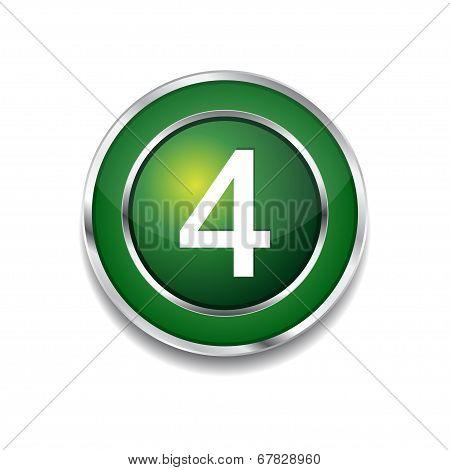 4 Number Circular Vector Green Web Icon Button
