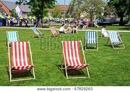 Deckchairs in park, Stratford-upon-Avon.