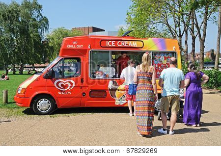 Queue at ice cream van.