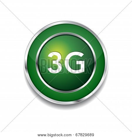 3g Sign Circular Green Vector Button Icon