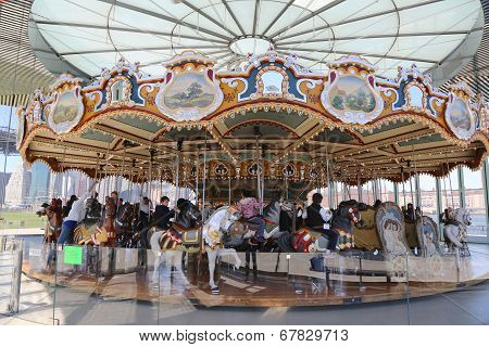 Traditional fairground Jane's carousel in Brooklyn