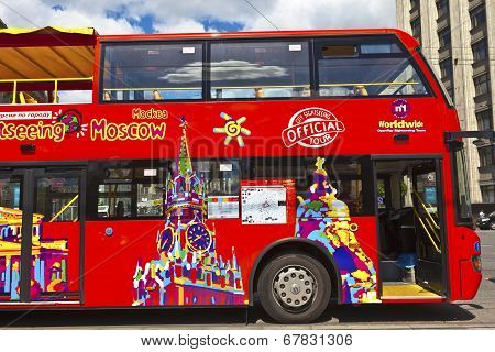 Sightseeing bus in Moscow, Russia.