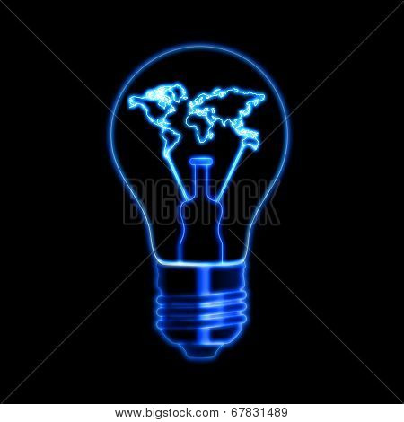 Light Bulb Sign With World Map Over Black Background