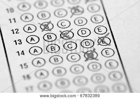 Wrong way to fill multiple choice examination form