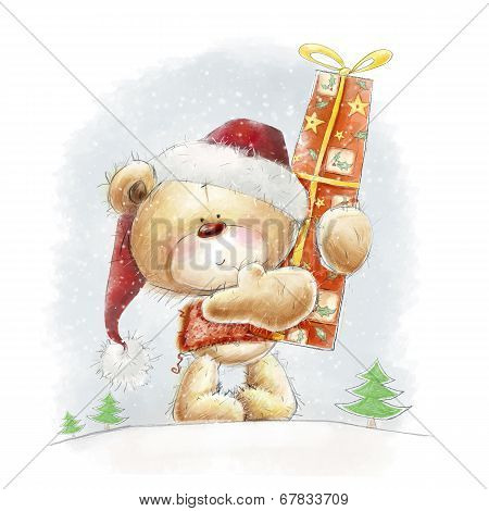 Cute teddy bear with the big red gift in the Santa hat.Christmas greeting card.