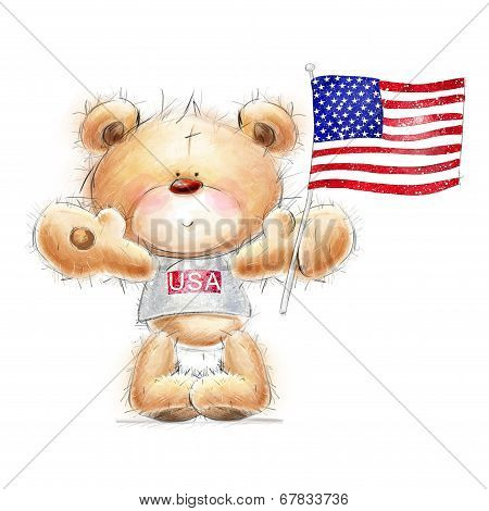 Cute Teddy bear with the  USA flag..Independence day. Greeting card with cute Teddy  .