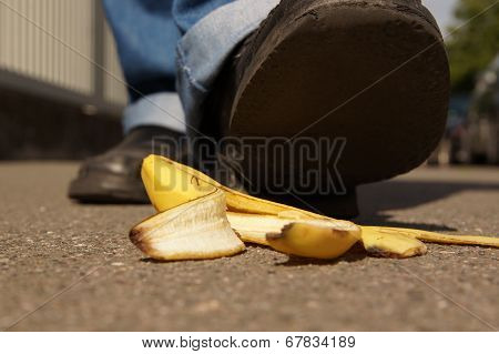 slipping on a banana peel