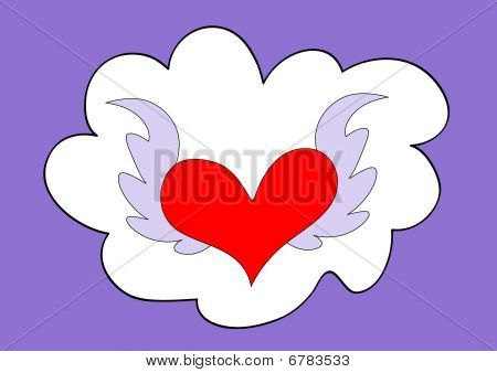 Cloud and flying heart
