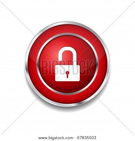 Unlock Circular Red Vector Web Button Icon