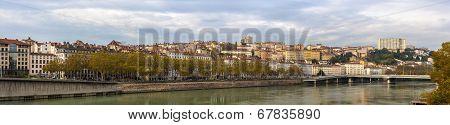 Lyon City On Banks Of Saone River - France