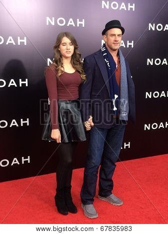NEW YORK-MAR 26: Actor Christopher Meloni (R) and daughter Sophia Eva Pietra attend the premiere of